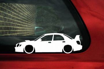 2x LOW Subaru impreza WRX STi (2nd gen Bug Eye) outline ,silhouette stickers,